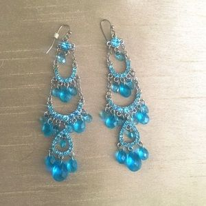 NWT Blue Beaded Chandelier Earrings